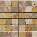Travertin mix 4 coloris- veilli- 4,8x 4,8x1cm- 0,93m²par boite- 41,86m²palette