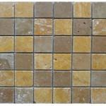 Travertin mix2coloris(noce,jaune)- vieilli- 4,8x4,8x1cm- 0,93m²par boite- 41,86m²palette