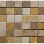 Travertin mix3coloris(cla,noce,jaune)- vieilli-4,8x4,8x1cm- 0,93m²par boite- 41,86m²palette